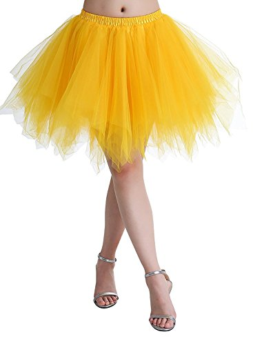 Adult Women 80's Plus Size Tutu Skirt Layered Tulle Petticoat Halloween Tutu Yellow