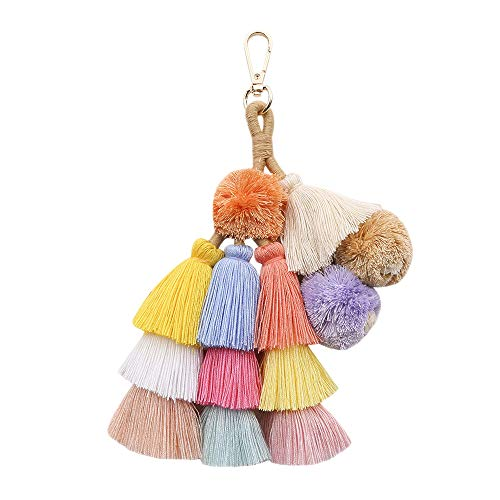 Colorful Boho Pompoms Tassel Bag Charm Summer Straw Bag Key Chain by Caissip (Image #1)