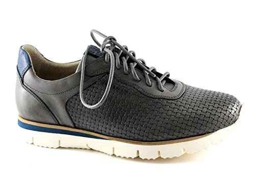 Lion 20705 Perla Grigio Scarpe Uomo Lacci Sneakers Intreccio Pelle Grigio