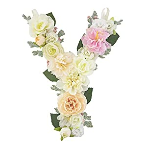 DARONGFENG RuralStyle Floral Letters, Handmade Wood Artificial Flower Letter Monogram for Wall Door Desk Top Decoration, Nursery/Baby Shower/Children Room/Wedding /Birthday Party Decor (Y) 3