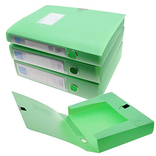 H&W 3 Pack, A4 Storage Archives Cases File Boxes Plastic with Lid, Box File, Height 35 55 75mm,Green ()