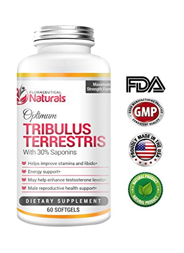 Tribulus Terrestris Capsules - Pure Natural Supplement - Most Effective Testosterone & Stamina Booster - Gives Maximum Amount Of Energy Boost - Increases Male Reproductive Health - 30 Day Supply