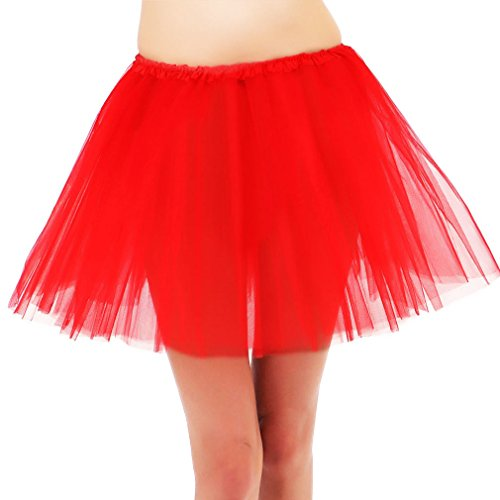 Red Tutu For Women - Simplicity Women Adult Elastic 3 Layered