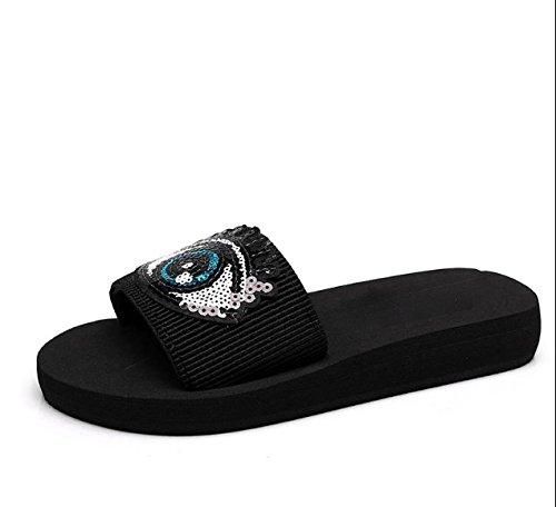 3cm espesor Moda Ajunr elegante de Personalidad 42 Zapatillas Sandalias Transpirable Negro 40 Fashion inferior n4A1Yqf4