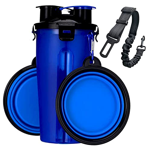 BrokSilent Dogs Travel Water Bottle, Leak Proof Puppy Bottle Water Dispenser with Bowls for Walking, with Dog Seat Belt (Blue)