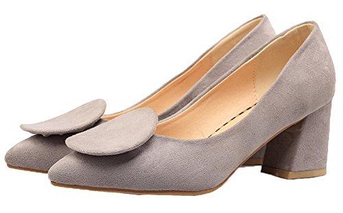 AgooLar Damen Ziehen auf Schließen Zehe Mittler Absatz Nubukleder Pumps Schuhe Grau