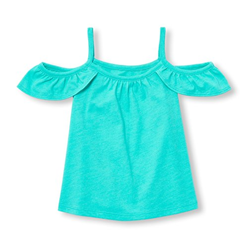 The Children's Place Baby Girls Cold Shoulder Top, Aegean SEA 98135, 4T