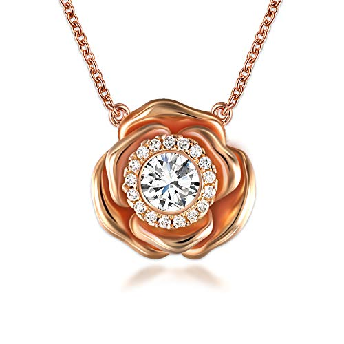 SNZM Rose Gold Pendant Necklace for Women Cubic Zirconia Flower Necklace for Mothers Day