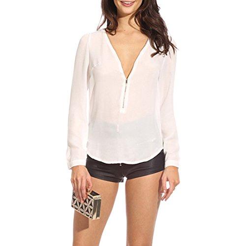 Nueva blusa profunda S-XXL de la tapa de la manga del nuevo de la manga del cuello profundo atractivo atractivo de las mujeres White