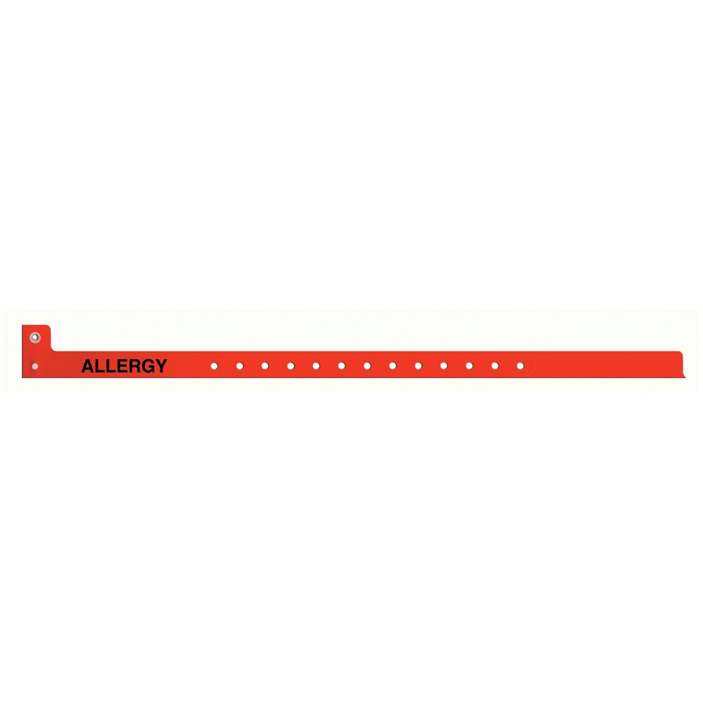 PDC Healthcare Sentry 5065-16-PDM Polyester Adult/Pediatric Alert Wristband,''Allergy'' Pre-Printed, Permanent Snap Closure, Red (Box of 500)