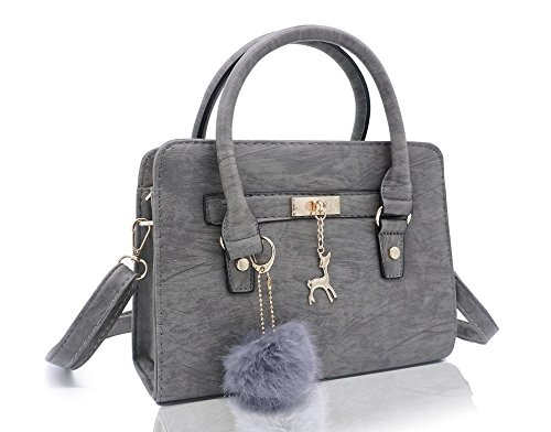 Imported Top Handle Bags - Small Tote Faux Leather Purse and Handbag for Women Cute Shoulder Bag Top Handle Satchel Purse Trendy Bag(Grey)