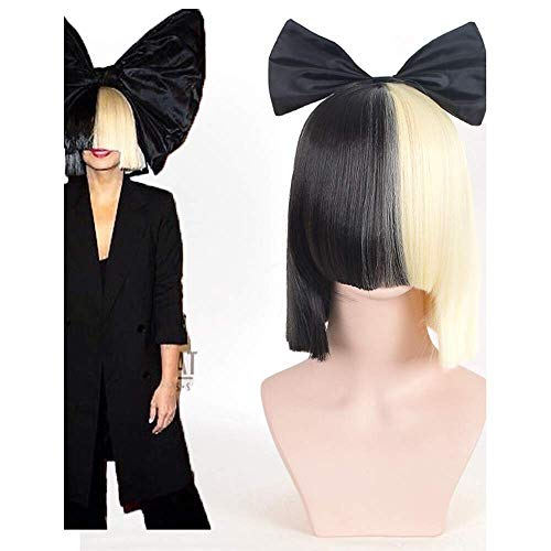 halloween party online sia alive this is acting half black blonde short wig with bowknot accessory costume cosplay -