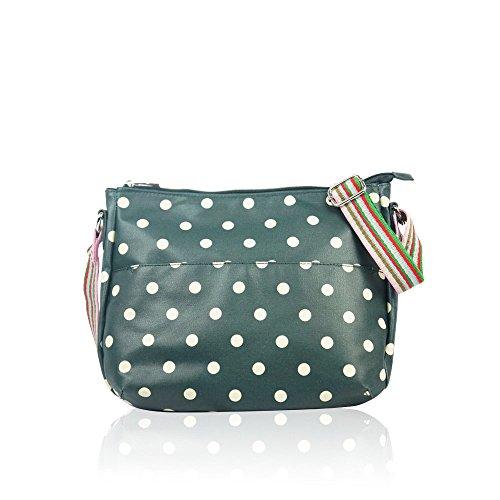 Matte Green Spotty Oilcloth Messenger Polka Handbag Dot Ladies Bag Fashion HqqrEtTxw