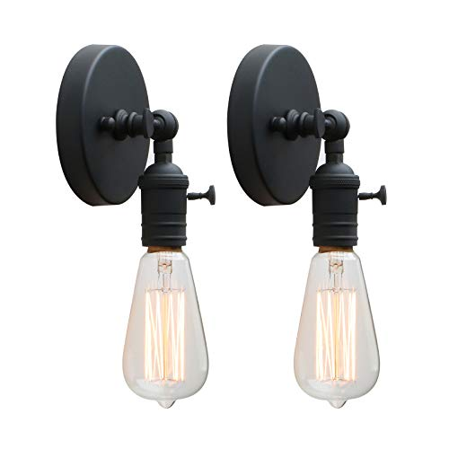Permo Set of 2 Minimalist Single Socket Wall Sconce Lighting with On/Off Switch (Black)