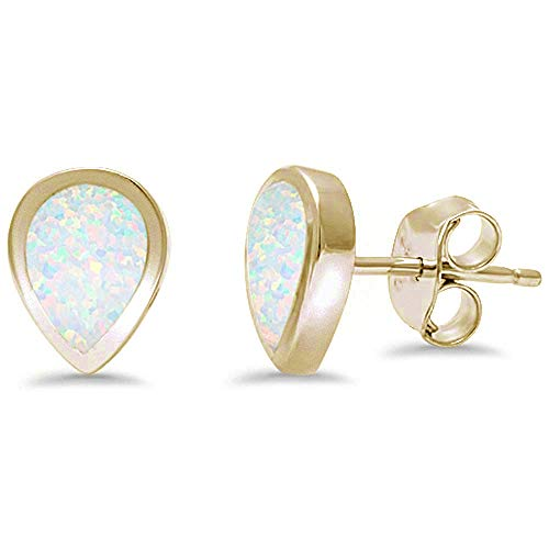 - Tear Shape Blue Opal .925 Sterling Silver Earring (Yellow Gold Plated Lab Created White Opal)