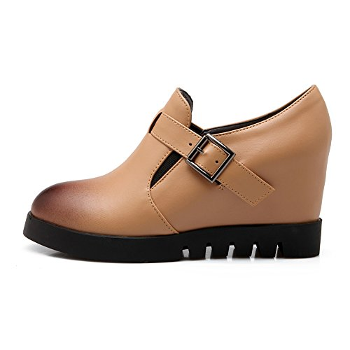 Heel apricot Boots goring With Bootie Elastic fereshte Hidden Fashion Pointed Ankle Women's Platform Wedge Toe Buckle w7wZx6qAIY