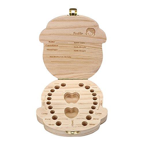 Yu2d  Tooth Box Organizer for Baby Milk Teeth Save Wood Storage Box for Kids Boy&Girl(卡其色Khaki)]()