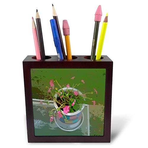 3dRose Lens Art by Florene - Modern Impressionism - Image of Abstract Pot of Pink Flowers On Table - 5 inch Tile Pen Holder (ph_303029_1)