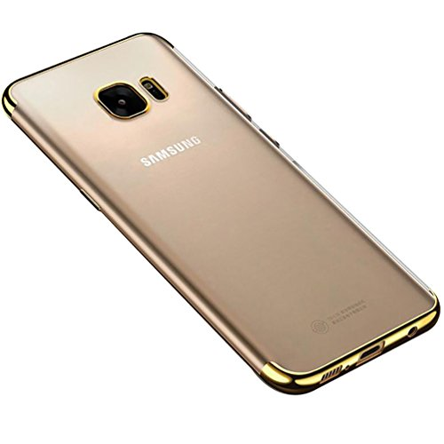 Fushengxin Galaxy S7 Edge Case, Thin Clear TPU Plating Shockproof Cover for Samsung Galaxy S7 Edge,Gold