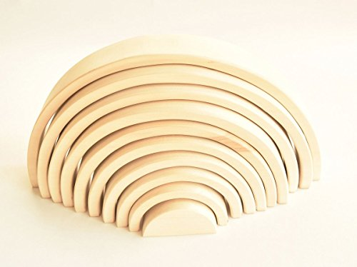 - Rainbow Stacker Natural Montessori Rainbow Wood Building Toys Stacking Nesting Toys Waldorf Baby Toys Rainbow Wooden Toys for Toddlers Open Ended Play Toys Wooden Toys for Babies Large Natural 10 Pcs