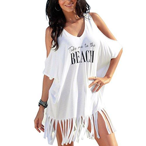 Inlefen Women Swimsuit Cover Up UV Protection Beach Dress Túnica con borla camisa larga Loose Beach Poncho Vestidos de...