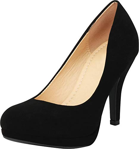 Cambridge Select Women's Closed Round Toe Padded Comfort Slip-On Platform Stiletto High Heel Pump (7 B(M) US, Black ()