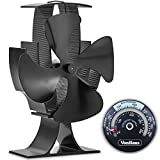 VonHaus 4-Blade Heat Powered Wood Stove Fan with Temperature Gauge - Ultra Quiet Fireplace Wood Burning Eco Fan for Efficient Heat Distribution - Black