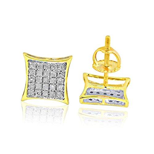 9mm Kite Earrings 10K Yellow Gold 0.13ctw Diamonds Screw Back ()