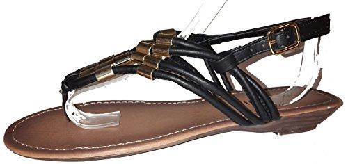 Chanclas para mujer, flip flop, sandalias para mujer, beige, marrón, blanco, azul, rojo, negro-oro, rosa-rojo y color del leopardo, modello 11064105006001, diferentes modelos y tamaños. Negro-oro.