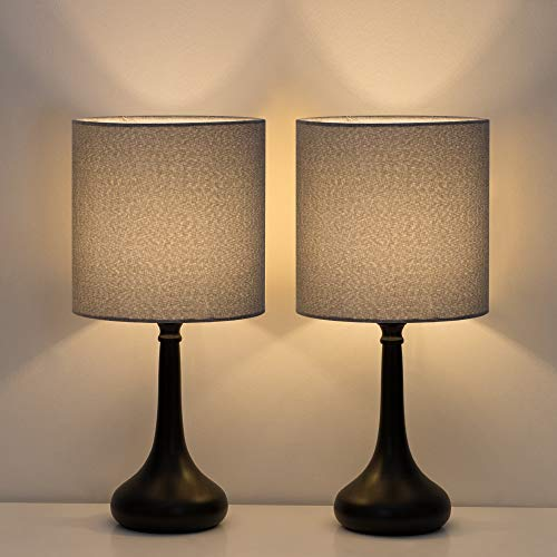 HAITRAL Bedside Table Lamps - Modern Desk Lamps Set of 2 for Bedroom, Office, College Dorm with Metal Base & Fabric Lamp Shade HT-BTL09-15X2 - Gray ()