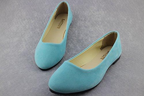 Planos Claro Mujer Zapatos Bailarinas de y Azul Sintética Moda Ocio Básicas Piel dqPPYwXrx