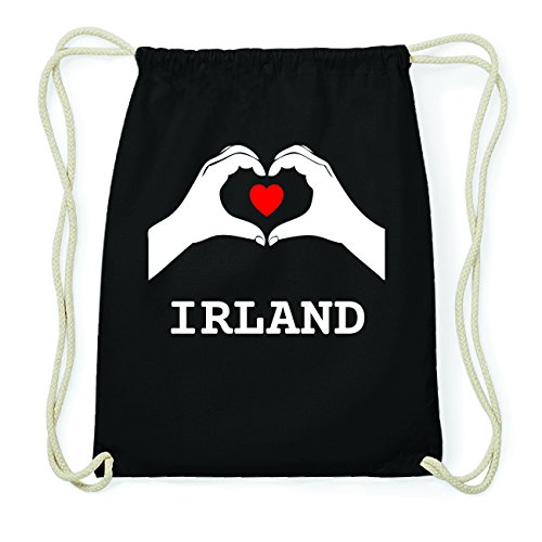 JOllify IRLAND Hipster Turnbeutel Tasche Rucksack aus Baumwolle - Farbe: schwarz Design: Hände Herz