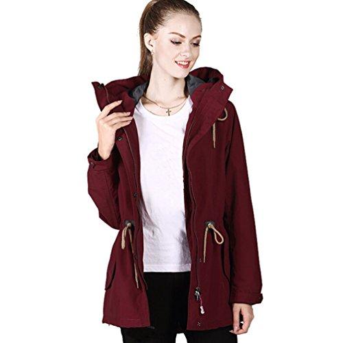 Femme Manteau Pour Outdoor Sportwear Vin Randonnée Blouson Trekking Baymate Unie Veste Imperméable Chaude Couleur Rouge Camping dzH1wqE