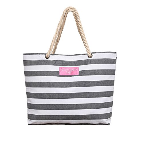 [Caixia Women's Polyester Thick Rope Handle Stripe Pattern Tote Bag Shoulderbag] (Stripe Shoulder Tote Bag)