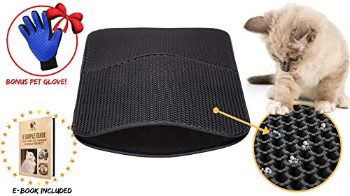 HUGGYTEAM Upgraded Version -Premium Quality Cat Litter Trapper Mat Exclusive Urine and Waterproof Layer, Jumbo Size 30 x 22, Double Layer Design, Larger Holes, Easy Clean, and Floor Carpet - Premium Trapper
