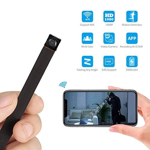 Spy Hidden Camera WiFi, Mini Hidden Camera WiFi Wireless Spy Camera HD 1080P Motion Detection for Home Office Security Surveillance Cam Nanny Cam, IP Camera Recording Using Indoor & Outdoor