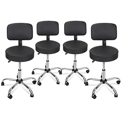 Nova Microdermabrasion Adjustable Hydraulic Rolling Swivel Salon Stool Chair Tattoo Massage Facial Spa Stool Chair with Back (PU Leather Cushion) Black 4pcs