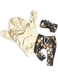 Toddler Baby Girl Clothes Newborn Active Sweatshirt Pocket Hoodie Tops Floral Pants with Headband Outfit Set