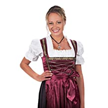 Bavarian Women's Midi Dirndl dress 3-pieces with apron and blouse black, 28 Plus, Red