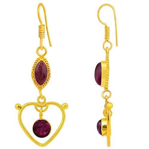 (7.4 Ctw Ruby Zoisite Earrings By Orchid Jewelry| Ruby Zoisite Jewelry| Dangle Earrings| Hypoallergenic Earrings| Red Earrings| Earrings For Sensitive Ears| Nickel Free Earrings| Wedding)