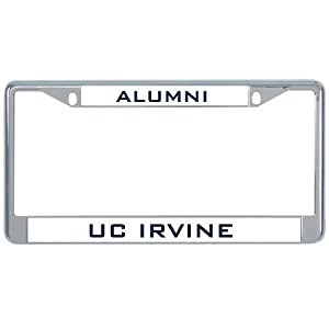 uc irvine metal license plate frame in chrome alumni
