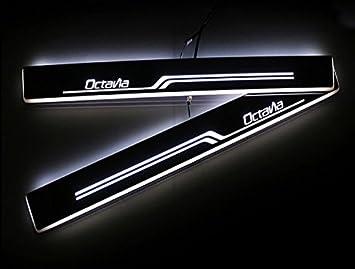 lqyauto 2pcs coche estilo Bienvenido Pedal umbral de la puerta Cool LED para Skoda Octavia A7