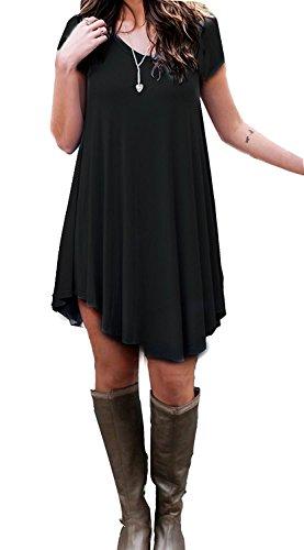 MOLERANI Women's Dress Short Sleeve Stretch Solid A-Line Short Tunic Dresses(Black,L)