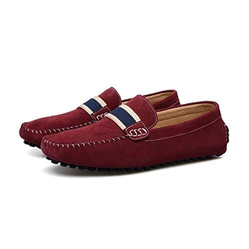 Baymate Hombres Raya Mocasines Antideslizante Zapatos de Conducción Zapatos Casuales Vino Rojo