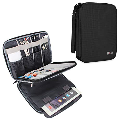 BUBM Electronic Organizer, Travel Cable Organizer Cord Bag for Earphone, USB Flash Drive, Memory Card and More, Compatible with Up to 9.7″ iPad or Tablet (X-Large, Black)