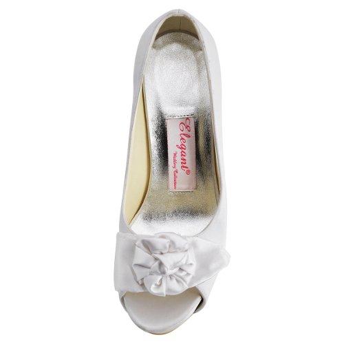 En Bout Ouvert Aiguille Elegantpark Blanc PlateForme De IP EP11091 Mariage Satin Fleur Talon Femme De Chaussures qwvUt