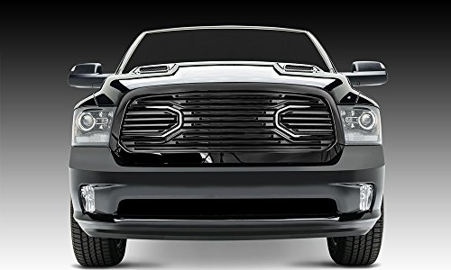 Razer Auto Gloss Black Big Horn Complete Grille Factory Replacement Grille w/Shell for 2013-2017 Dodge RAM 1500