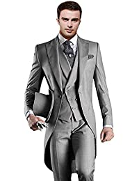 Men's Classic 3 Pieces Tux Suit One Button Regular Fit Long Tail Tuxedos