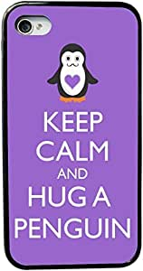 Rikki KnightTM Keep Calm and Hug a Penguin Violet Color Design iPhone 4 & 4s Black Case Cover (Black Rubber with bumper protection) for Apple iPhone 4 & 4s by lolosakes by lolosakes