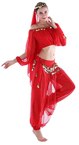 Adult Belly Dancer Costume Dancing Outfit with Harem Pants Chiffon Red -
